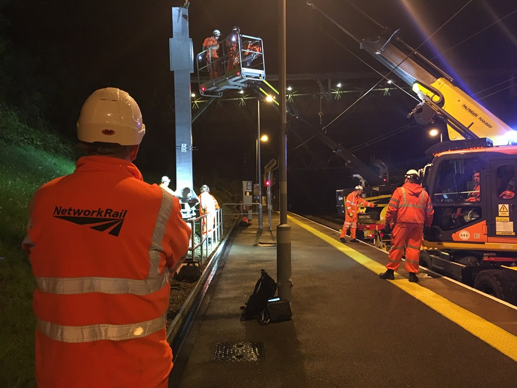 Southend Victoria line to reopen at nights following early completion of first phase of major upgrades: Structure installation at Billericay
