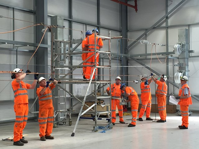 Network Rail engineers prepare for electrification of the Severn Tunnel at state-of-the-art training facility in Wales: Coleg Y Cymoedd traning facility