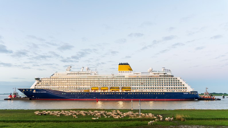 Spirit of Discovery, Saga's first new-build cruise ship, completes conveyance along the River Ems in Germany: S714 Conveyance DSC 0815 1