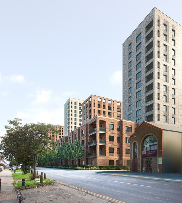 Assael Architecture Image - CLL Southall Development CGI street view
