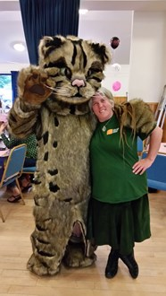 William the Wildcat: Scottish Wildcat Action (SWA) mascot, William the Wildcat, with Emma Rawling, SWA project officer.