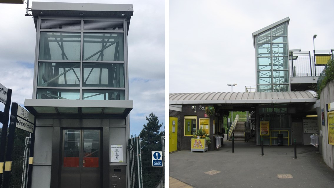 Damaged lifts to be repaired at Old Roan station on Merseyside: Old Roan station lift composite