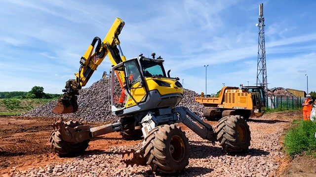 'Spider' excavators move the earth to protect key Midlands rail route: Spider excavator used to strengthen embankments at Penkridge
