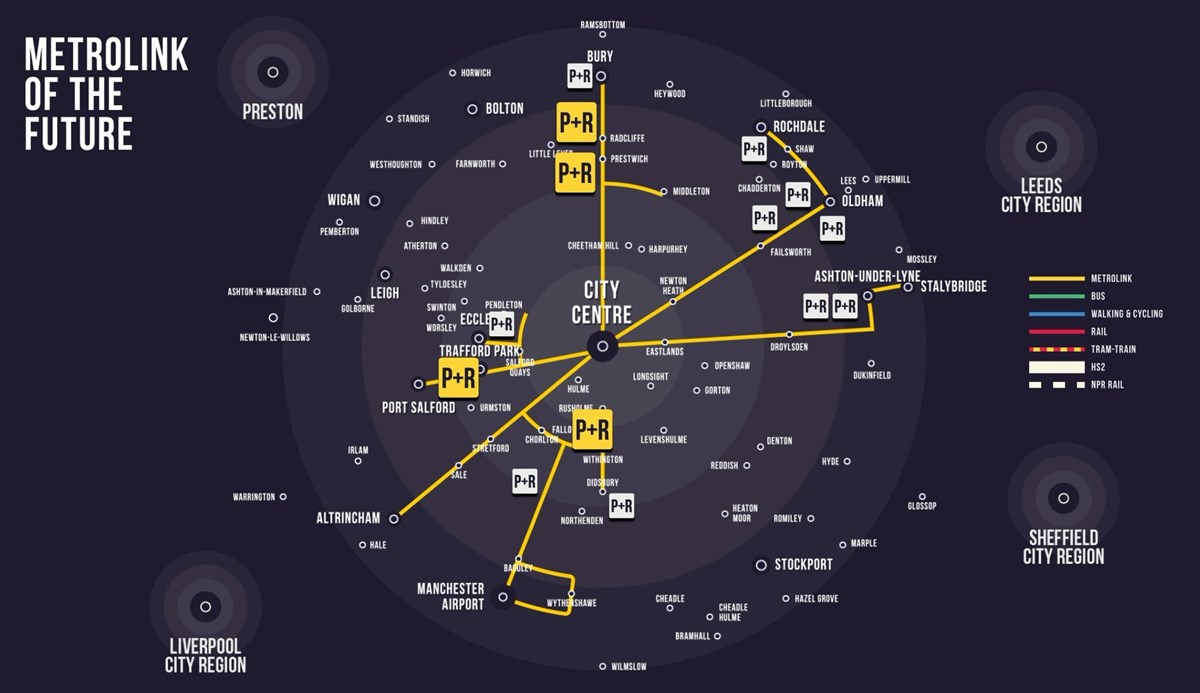 A graphical representation of Metrolink Park and Ride sites on the Our Network map: A graphical representation of Metrolink Park and Ride sites on the Our Network map