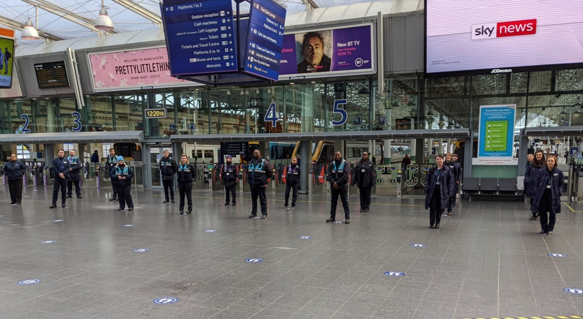 The new social distancing guides at Manchester Piccadilly