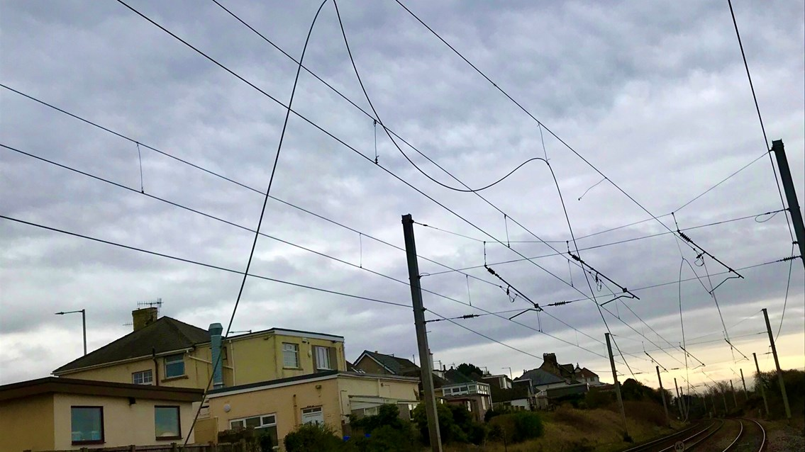 Passengers warned of delays after overhead lines damaged on the West Coast main line: Overhead line damage Hest Bank 3