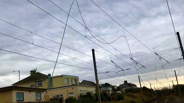 Passengers warned of delays after overhead lines damaged on the West Coast main line: Overhead line damage Hest Bank 3