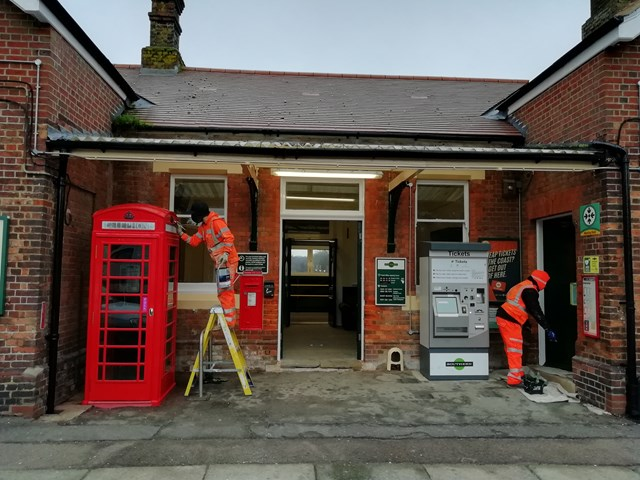 Workmen refurbish the street-level ticket hall-2