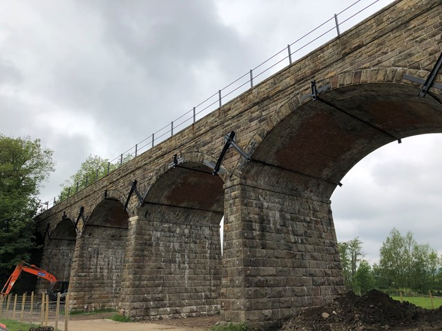 Victorian viaduct upgrade improves journeys for passengers in Lancashire: View of Capernwray viaduct