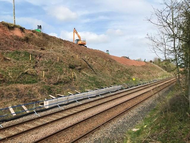 Cumwhinton cutting midway through the landslip protection work