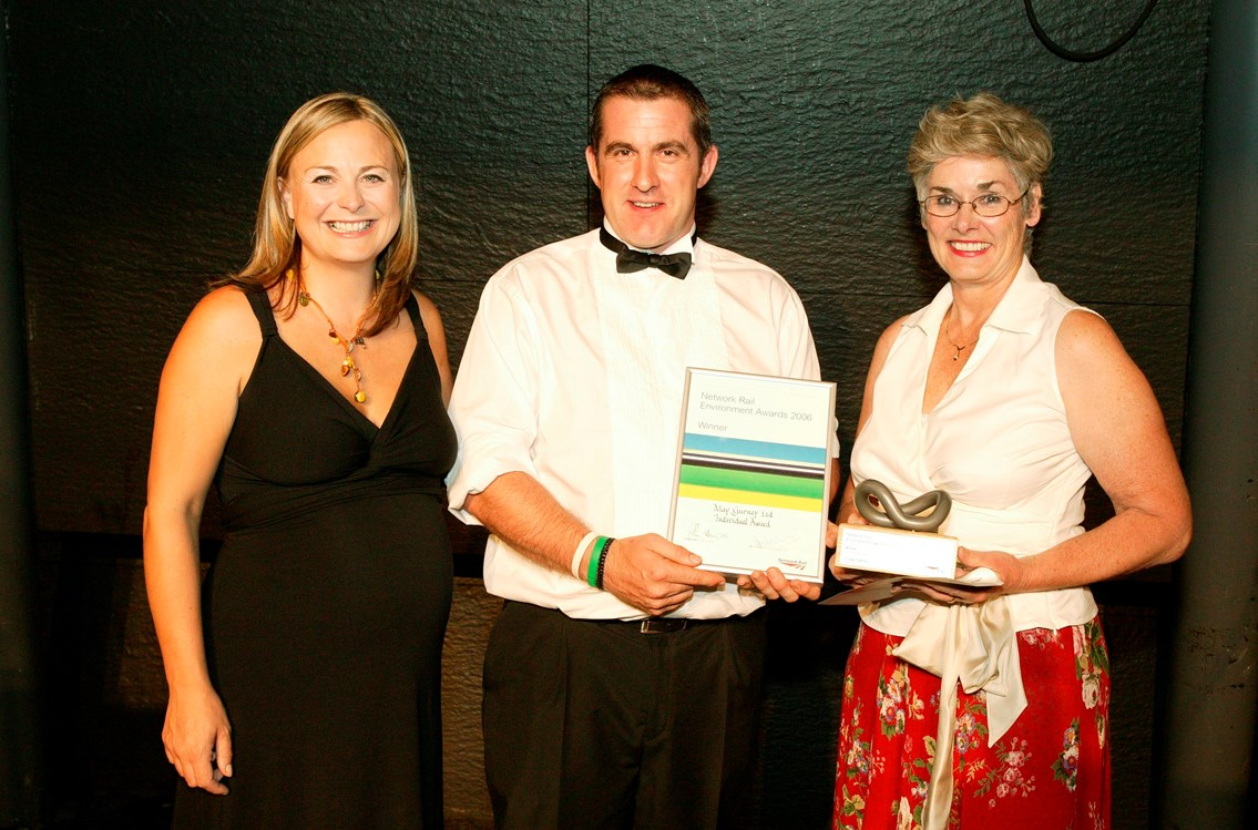 Individual Contribution Award winner - Craig O'Brien: Presented by Philippa Forrester and Yvonne Constance, a Network Rail non-Executive Director.  Awarded to Craig O'Brien of May Gurney, who consistently performs over and above the remit of his job, working with a wide variety of groups to achieve solutions that preserve and improve the environment