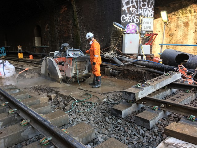 Slab track renewal taking place at Kentish Town, Camden, on 28 December 2017 (3)