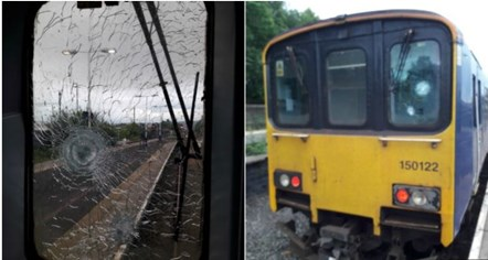 Northern offers reward after stone thrown at moving train: Damaged train appeal