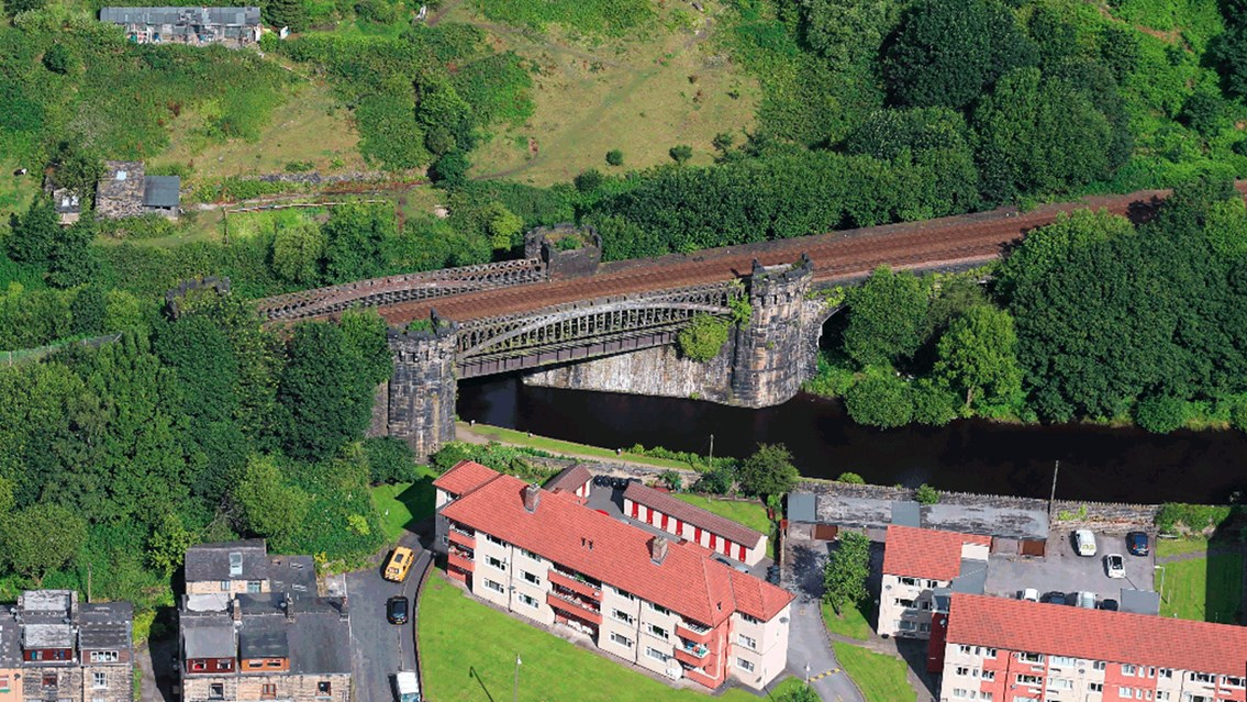 Aerial photo of Gauxholme Viaduct 16x9