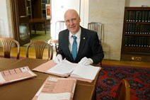 Cabinet Paper Release: Minister for Parliamentary Business Joe FitzPatrick with the newly-released Scottish Cabinet papers from 1999