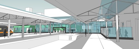 Special glass wall and refurbished platform canopies at Swansea station