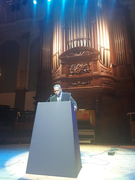 Steve McCauley: Actor Steve McCauley of Too Heavy Productions recites from Paul Robeson speeches at Reading Concert Hall, 60 years after the great civil rights leader visited the venue.