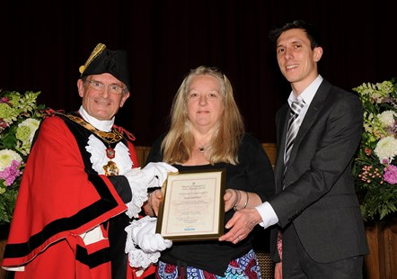 Jane Garfield - winner of the Mayor's Civic Awards 2019: With Mayor of Islington Cllr Dave Poyser and Ramzy Alwakeel, Editor of the Islington Gazette