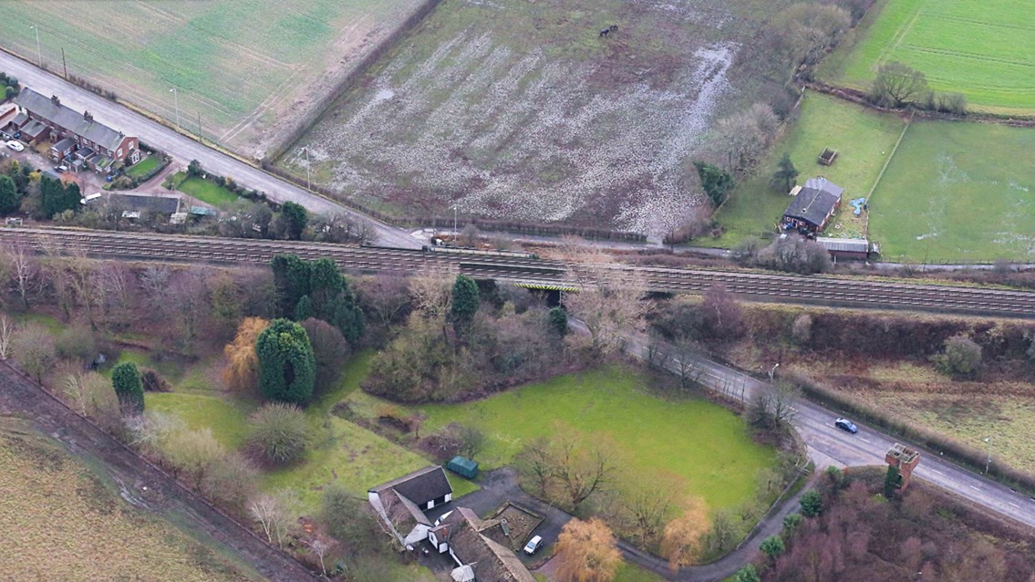 Information released about Warrington railway bridge upgrade: Aerial shot of South Lane bridge in Warrington
