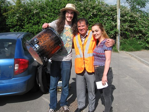 Morgan Pettigrew gets his rare stolen drumkit back from Network Rail engineer Derek Wahid 1