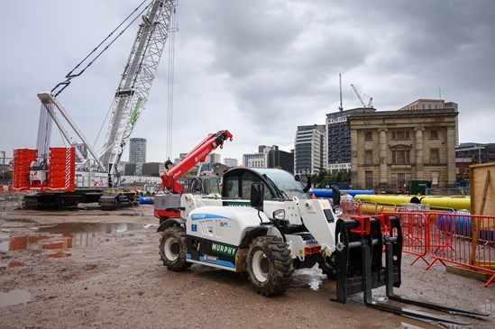 HS2's green tech innovations support city clean air drive: Electric machinery on HS2's Curzon Street Station site