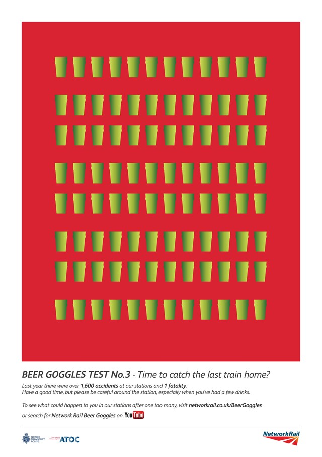 Don't let a tipple turn into a trip, new campaign reminds passengers in the east of England: Station safety campaign poster - beer goggles 3