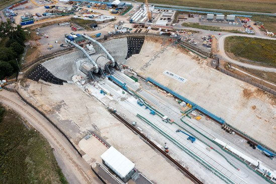 Aerial view of entrance to the HS2 Chiltern Tunnel at its South Portal in Hertfordshire, August 2021 HS2-VL-27845