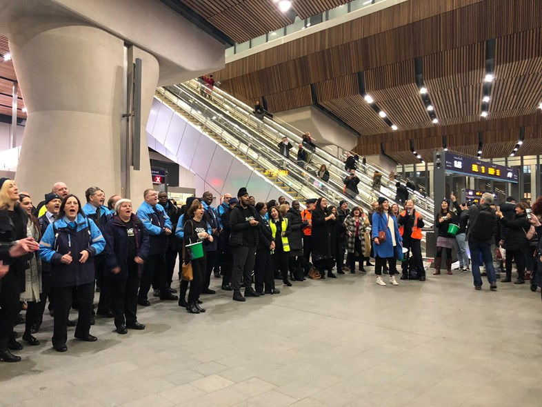 'Blue Monday' flashmob by rail employees across London stations: flash mob group-2