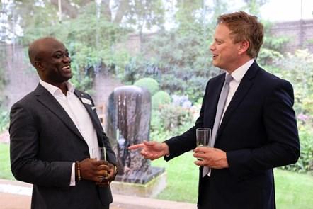 Transport Secretary Grant Shapps with Samuel Obiri-Yeboah at the Downing Street reception