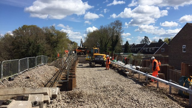 Good news for passengers as Farnham to Alton railway line set to re-open early following landslip: Wrecclesham Landslip, April 2016 (1)