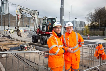 Final Concrete Pour on Metrolink Trafford Park line: (Left) Barry Flutter, Senior Project Manager for contractor M-PACT Thales, (right) Danny Vaughan, TfGM Head of Metrolink