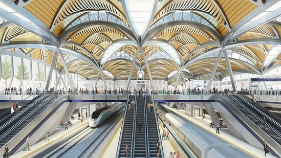 Euston HS2 high speed platforms: Architectural vision for the new high speed rail platforms at an extended Euston station.