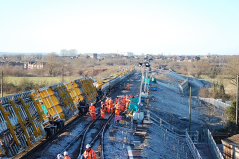 High output track renewal train including modular points