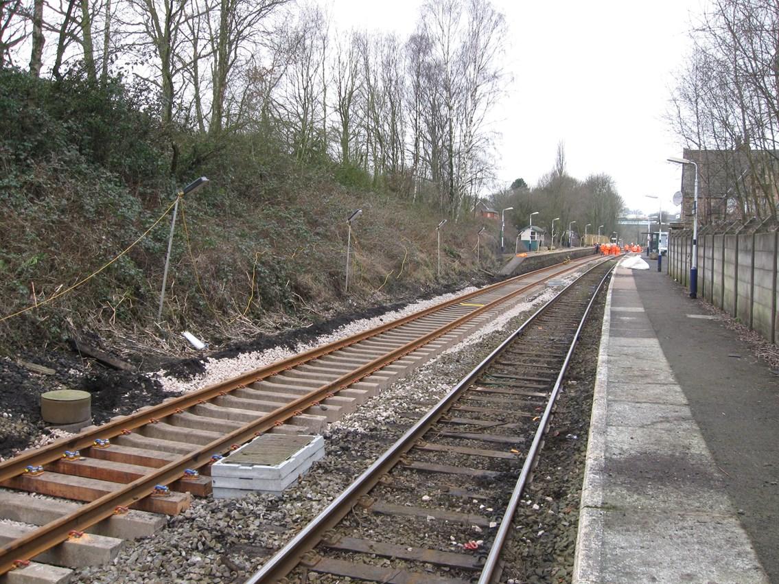 Gathurst - Appley Bridge improvement work: New rail on steel sleepers on approach to Gathurst station