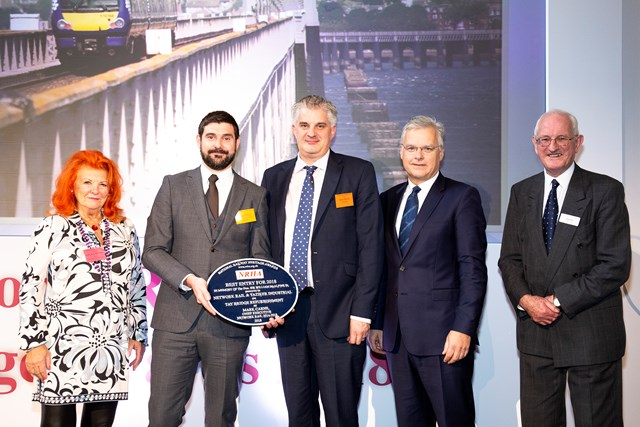 Tay Bridge - Mark Wilson of Network Rail (2nd left) and Jason Worrall of Taziker (centre) with Lady McAlpine, Mark Carne, former Network Rail CEO and John Ellis of the NRHA