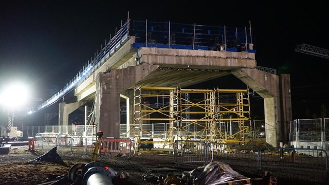 Bletchley flyover lit up May 2020 (1)