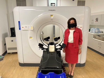 Minister Eluned Morgan with CT Scanner at Singleton Hospital