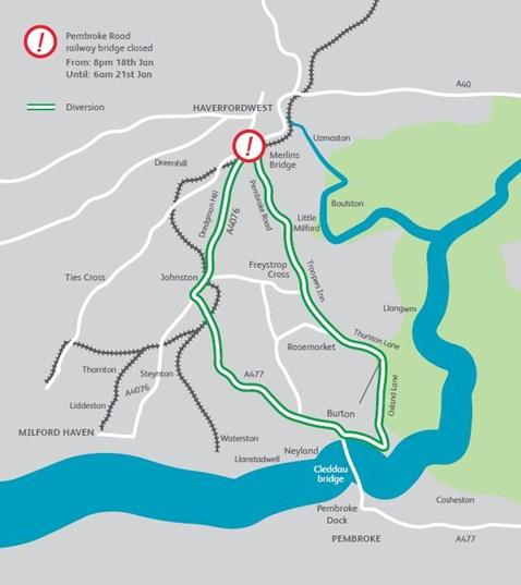 Merlins Bridge Diversion Map 2