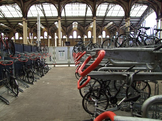 CYCLE PARKING BOOST FOR LIVERPOOL STREET STATION: Double-decker cycle racks at Liverpool Street station (1)