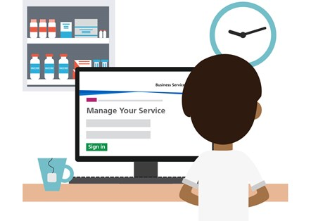 Manage Your Service (MYS) portal: A vector graphic of a pharmacy contractor sat in front of a computer using the Manager Your Service (MYS) portal
