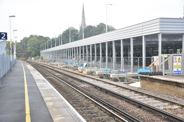 Longer platforms for longer trains: work continues apace at Bracknell and Wokingham: Platforms at Wokingham station are being extended to accommodate longer trains, as part of the £800 million Waterloo & South West Upgrade (2)