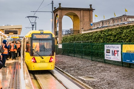 The opening of Trafford Park Metrolink Line