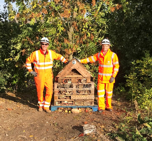 REAL's Construction Manager, Rob Mercer, left, and Environmental Manager Simon Hughes with the Bug Hotel at Bawtry