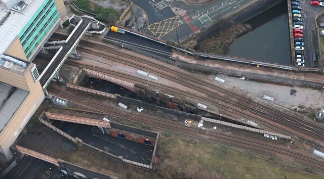 Aerial view of the Great Ducie Street and Victoria Street bridges before the overhaul