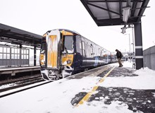 Class 375 in snow at Rochester