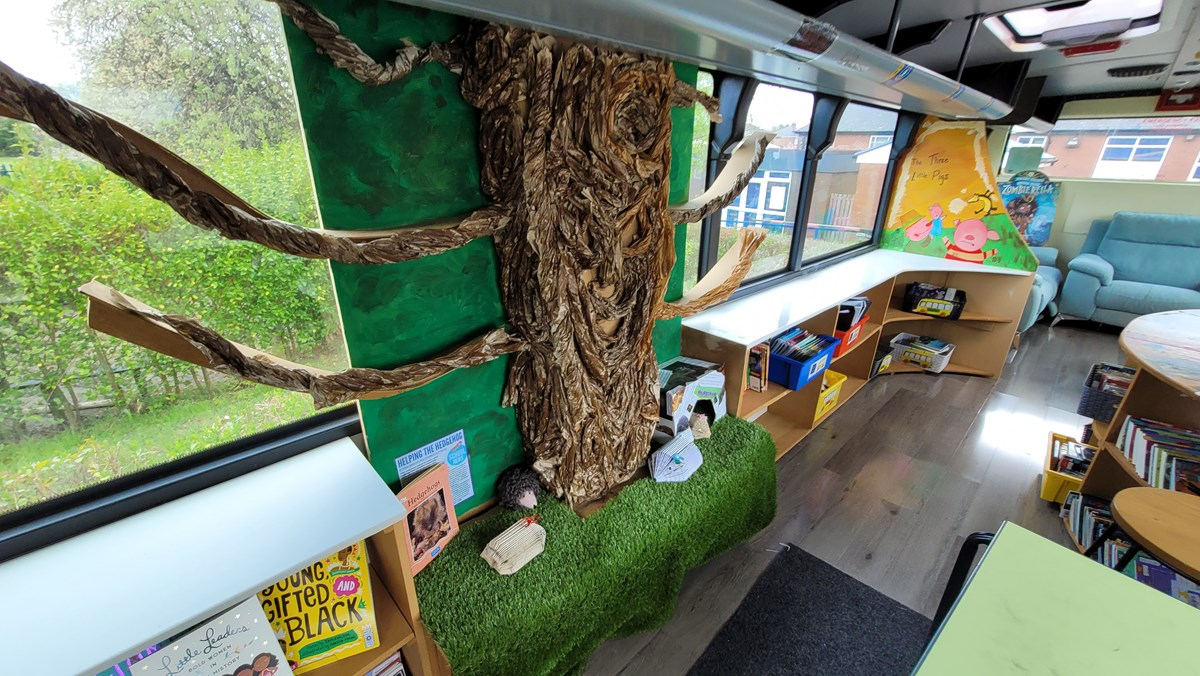 St Stephen's yellow school bus 3: A decommissioned yellow school bus, donated by TfGM to St Stephen's Primary School in Droylseden in 2019. The school turned the bus into a reading and tutoring place.