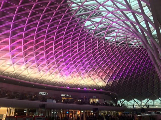 King's Cross station lights up purple to celebrate disabled people worldwide 2