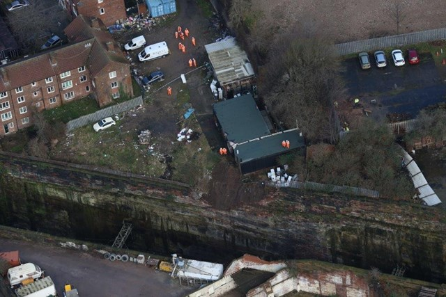 Final repairs underway to damaged wall overlooking Liverpool Lime Street tunnels: Aerial shot of the collapsed wall as seen from Network Rail's helicopter