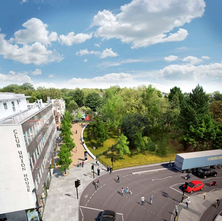 Islington Council seeks views on bold five-year vision to improve air quality: Highbury Corner - Artist's impression