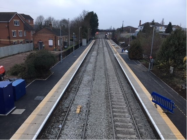 Passengers benefit from longer platforms in Cotwolds allowing more carriages to be boarded: Evesham station has benefitted from extended platforms